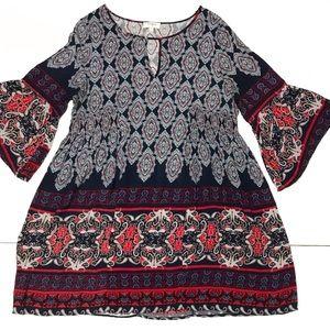 Umgee Boho Paisley Print Bell Sleeve Tunic Shirt L